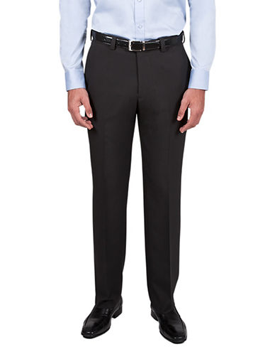 Haggar Blocked Straight-Fit Trousers-BLACK-38X32