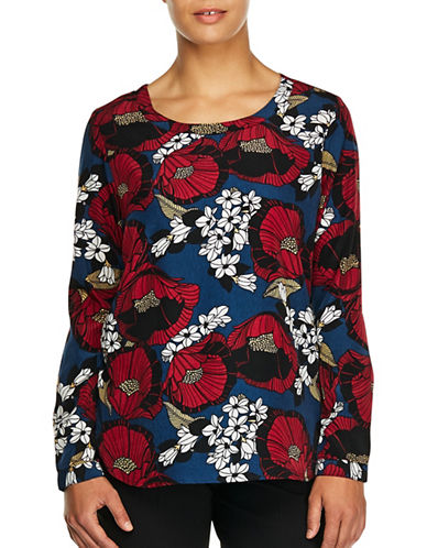 Haggar Long Sleeve Floral Blouse-RED FLORAL-Large