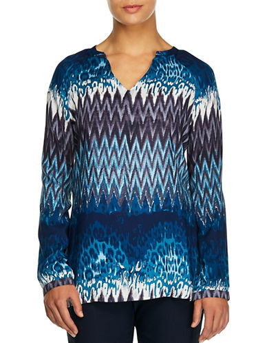 Haggar Peasant Challis Blouse-BLUE MULTI-Small