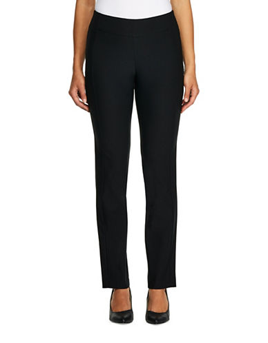 Haggar Bengaline Pull-On Slim-Fit Pants-BLACK-18