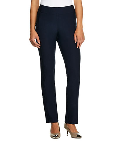 Haggar Petite Bengaline Pull-On Slim-Fit Pants-NAVY BLUE-Petite 16