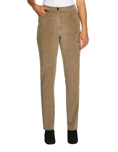 Haggar Petite Classic-Fit Corduroy Pants-BEIGE-Petite 14