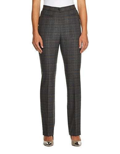 Haggar Petite Plaid Dress Pants-BEIGE-Petite 10