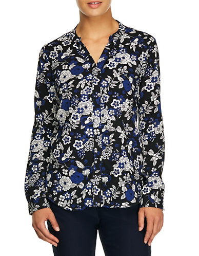 Haggar Petite Floral Button-Down Shirt-BLUE-Petite Small