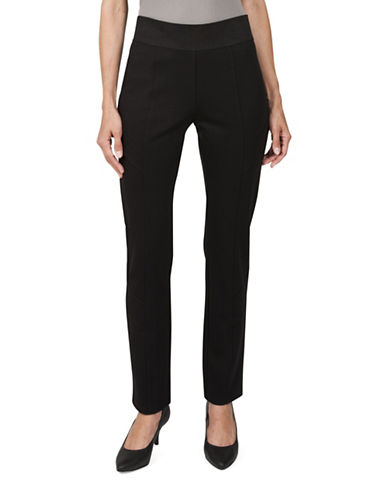 Haggar Petite Ponte Pull-On Pants-BLACK-Petite Medium