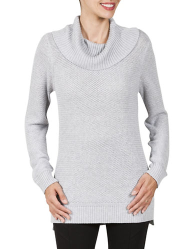 Haggar Petite Petite Textured Cowl Neck Sweater-GREY-Petite Medium