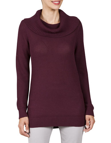 Haggar Petite Petite Textured Cowl Neck Sweater-PURPLE-Petite Small