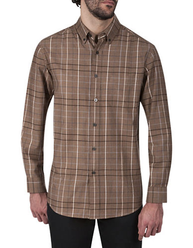 Haggar Regular-Fit Cotton Button-Down Shirt-TAUPE-X-Large
