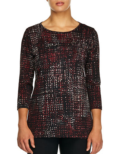 Haggar Petite Cross-knit Tunic-RED-Petite Medium