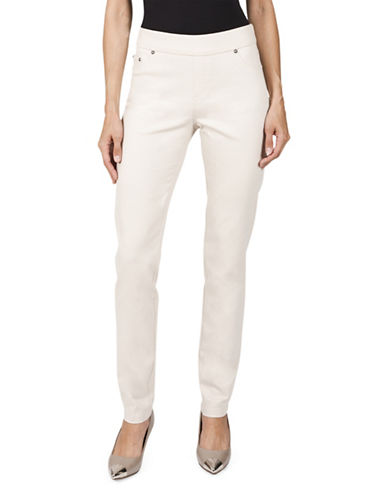 Haggar Petite Pull-On Stretch Twill Pants-LIGHT BEIGE-Petite 14