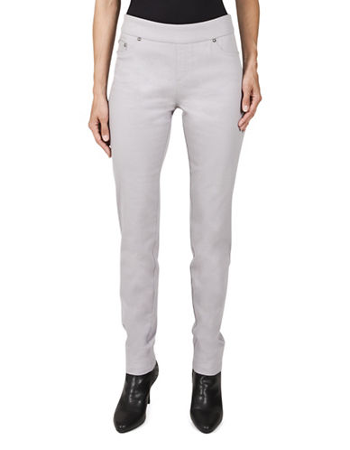 Haggar Petite Pull-On Stretch Twill Pants-GREY-Petite 16
