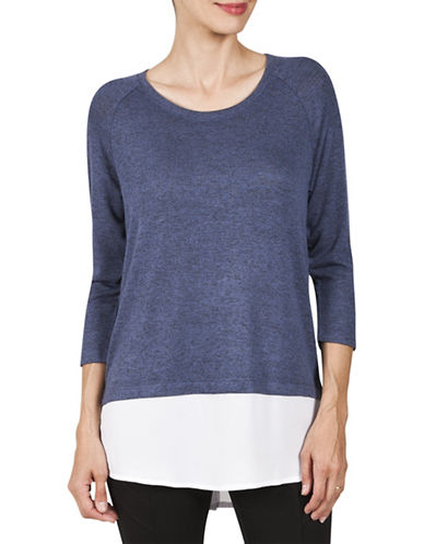 Haggar Petite Raglan Hacci Woven Hem Two-Fer Sweater-DARK BLUE-Petite Medium