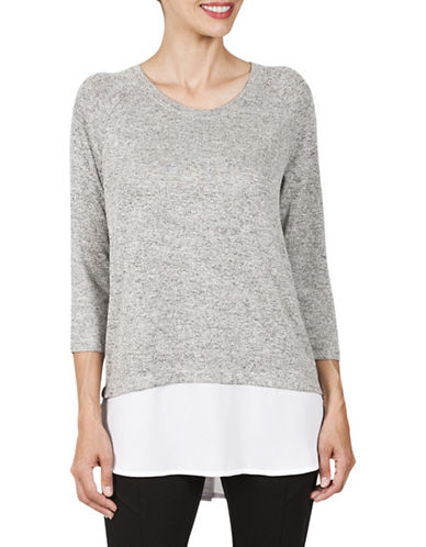 Haggar Petite Raglan Hacci Woven Hem Two-Fer Sweater-LIGHT GREY-Petite X-Large