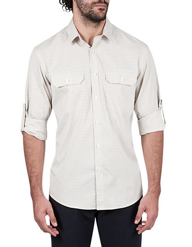 Haggar Performance Microfiber Sport Shirt-BEIGE-Small