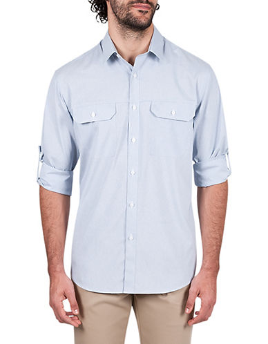 Haggar Performance Microfiber Sport Shirt-BLUE-Small