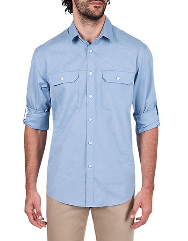 Haggar Performance Microfiber Sport Shirt-MEDIUM BLUE-X-Large