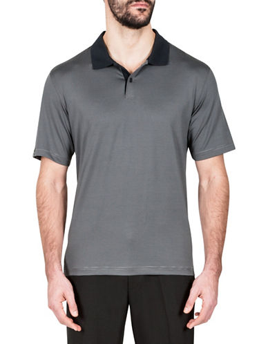 Haggar Striped Short-Sleeve Polo-BLACK-Large
