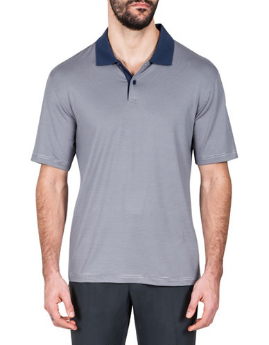 Haggar Striped Short-Sleeve Polo-NAVY BLUE-XX-Large