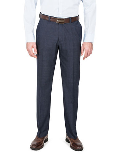 Haggar Straight Fit Plaid Dress Pants-BLUE-42X30