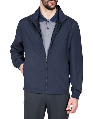 Haggar Water Resistant Jacket-NAVY BLUE-Medium