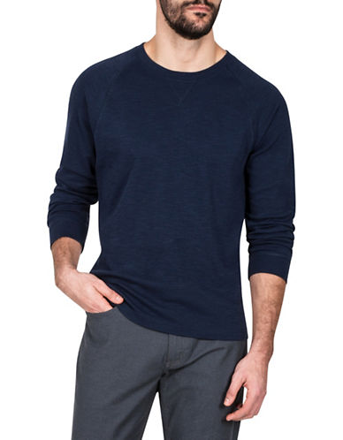 Haggar Heritage Crew Neck Cotton Knit Sweatshirt-NAVY BLUE-Small