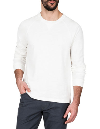 Haggar Heritage Crew Neck Cotton Knit Sweatshirt-WHITE-Small