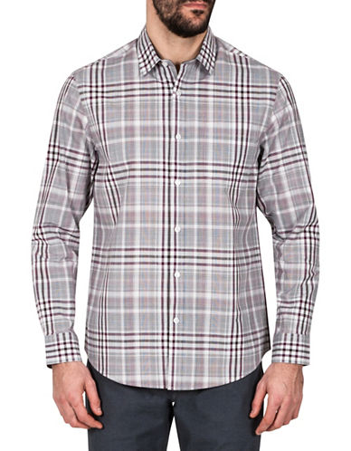 Haggar Heritage Plaid Cotton Sport Shirt-BURGUNDY-XX-Large
