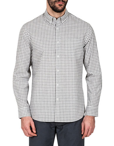 Haggar Heritage Melange Gingham Sport Shirt-GREY-Medium