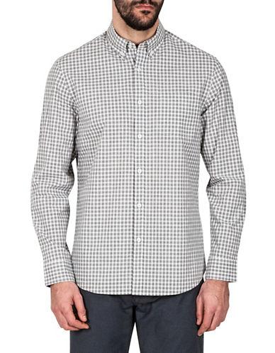 Haggar Heritage Melange Gingham Sport Shirt-GREY-Small