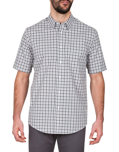 Haggar Heather Plaid Sport Shirt-GREY-Large