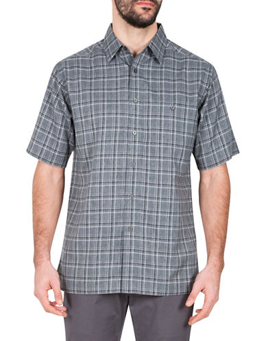 Haggar Microfibre Plaid Sport Shirt-CHARCOAL-X-Large