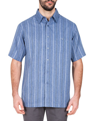Haggar Striped Short Sleeve Sport Shirt-NAVY-X-Large