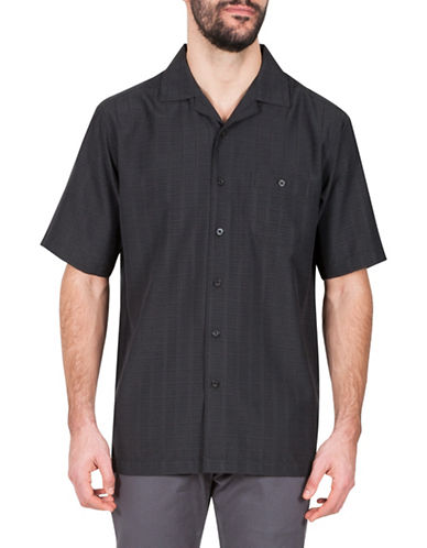 Haggar Unsolid Short Sleeve Sport Shirt-BLACK-Small