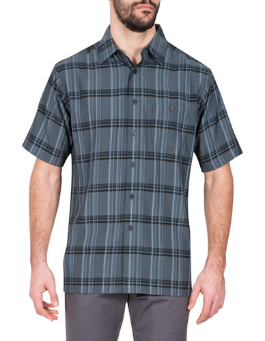 Haggar Plaid Short Sleeve Sport Shirt-CHARCOAL-X-Large