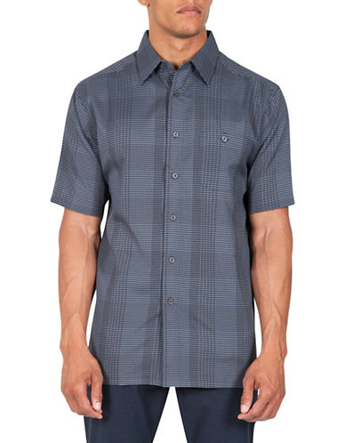 Haggar Check Short Sleeve Sport Shirt-BLACK-X-Large