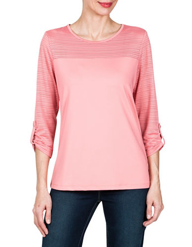 Haggar Stripe Mesh Top-PINK-Medium 89939686_PINK_Medium