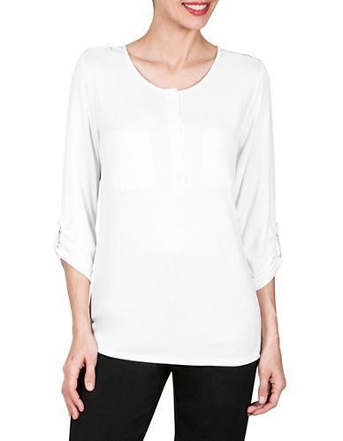 Haggar Henley Roll-Sleeve Top-WHITE-X-Large 90022027_WHITE_X-Large