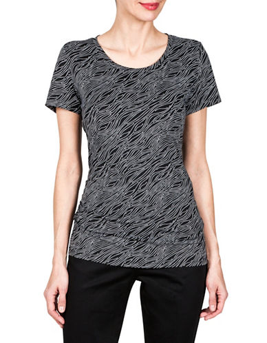 Haggar Short-Sleeve Ruched Tee-BLACK-X-Large 89939704_BLACK_X-Large
