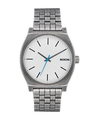 Nixon Unisex Time Teller Silvertone Analog Watch-SILVER-One Size