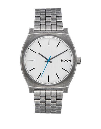 Nixon Unisex Time Teller Silvertone Analog Watch-SILVER-One Size