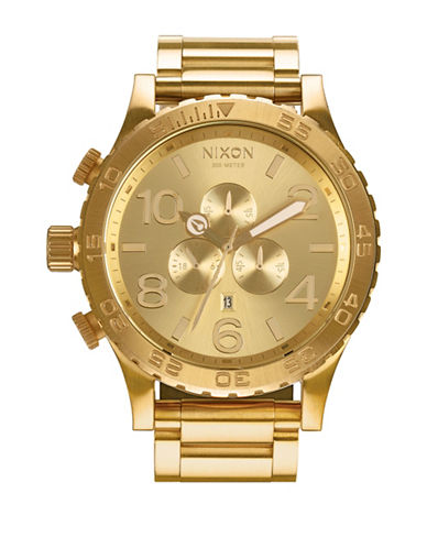 Nixon Chronograph 51-30 Goldtone Bracelet Watch-GOLD-One Size