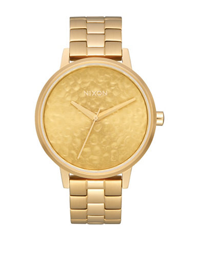 Nixon Analog Kensington Hammered Gold Stainless Steel Bracelet Watch-GOLD-One Size