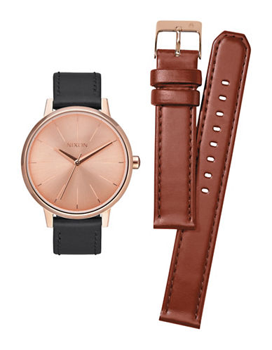 Nixon Kensington Leather Analog Watch and Strap Pack Gift Set-ROSE GOLD-One Size