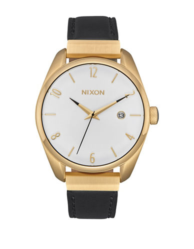 Nixon Bullet Leather Luxe Goldtone Analog Watch-GOLD-One Size