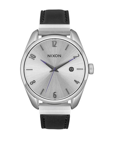 Nixon Bullet Leather Luxe Analog Watch-SILVER-One Size