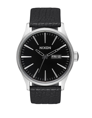 Nixon Sentry Stainless Steel Leather AnalogWatch-BLACK-One Size