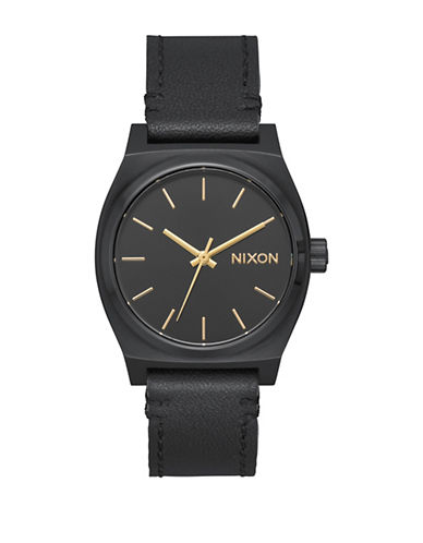 Nixon Time Teller Black Leather Watch-BLACK-One Size