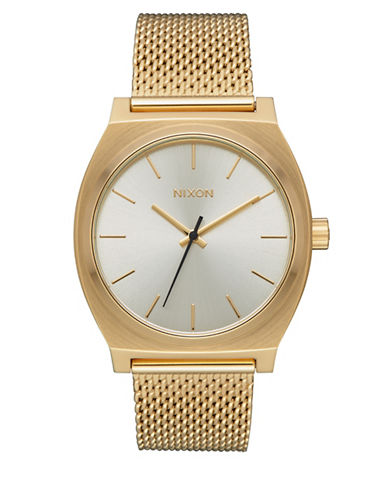 Nixon Time Teller Milanese Goldtone Analog Watch-GOLD-One Size
