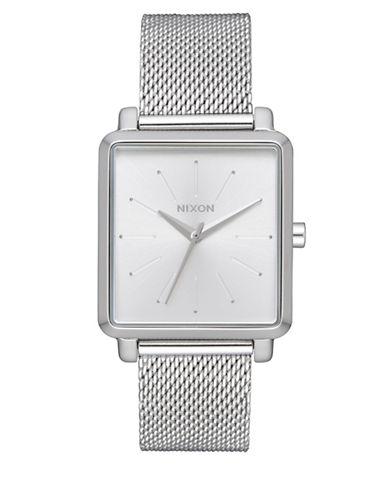 Nixon K Squared Stainless Steel Analog Watch-SILVER-One Size