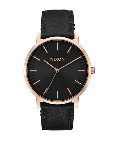 Nixon Porther Leather-Strap Analog Watch-BLACK-One Size
